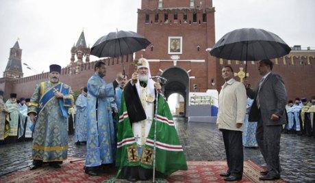 Patriarcha Cyryl i Prezydent Medviediev uczestnicza w ceremonii konsekracji odnalezionej ikony