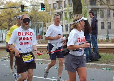 Kerry Kuck and Janet Tebbe running in the Boston Marathon