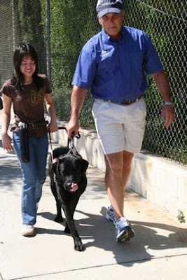 A young girl walking with a Guide Dog under the supervision of a Guide Dog mobility instructor