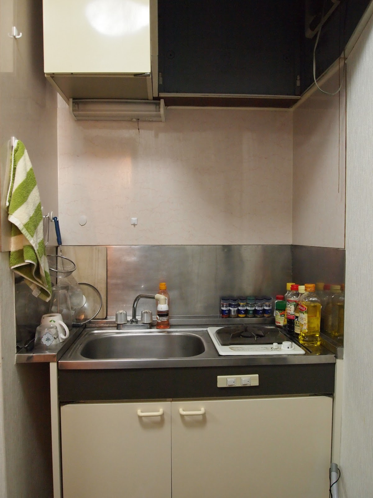 There Is One Gas Burner, No Oven, And No Counter. You See One Cabinet About  And One Below, And That Is All The Storage Space I ...