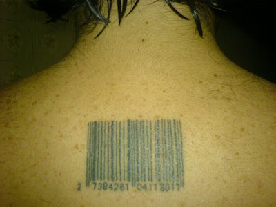He also had a Barcode tattoo on the back of his neck.