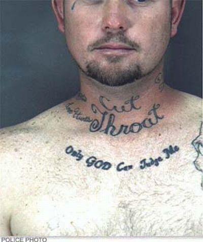 60 best mugshot tattoo fails damn cool pictures for Cut throat tattoo