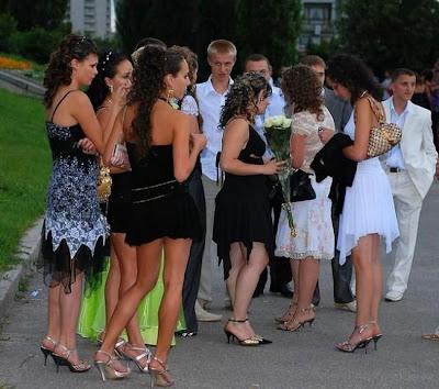 Russian school graduation girls