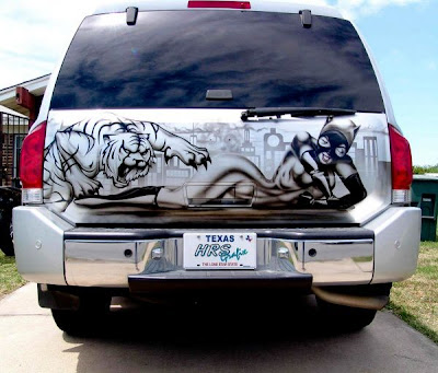 Mexican airbrushed tailgate murals damn cool pictures for Airbrush car mural