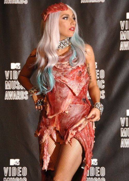 lady gaga meat dress pictures. Lady GaGa Wears Meat Dress for