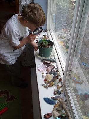 A windowsill converted into a nature table. (Photo from The Montessori Child at Home)