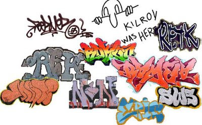 various colors graffiti alphabet