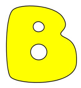 Printable Bubble Letters B Yellow