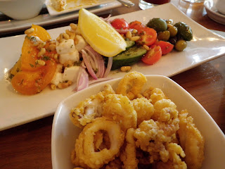Greek Village Salad with Tempura Calamari