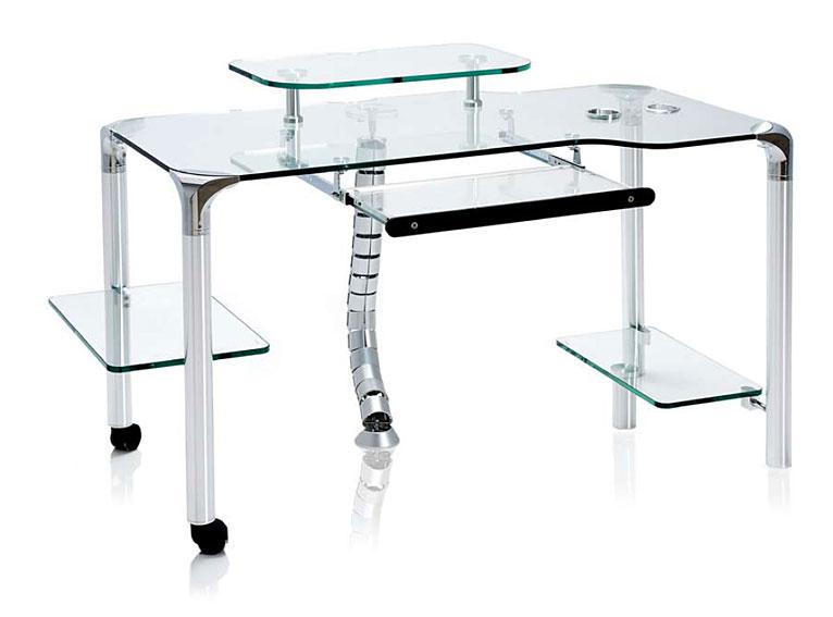 Mesas de oficina de cristal elegant conjunto mesa aries for Mesa cristal oficina