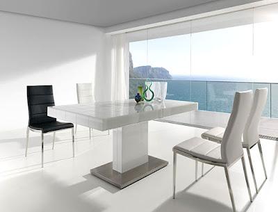 Mesas de comedor por la decoradora experta laca cristal y acero - Mesas de comedor de cristal y acero extensibles ...