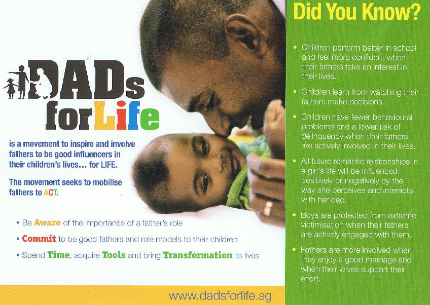On this brochure of the heavily promoted DADS FOR LIFE movement by