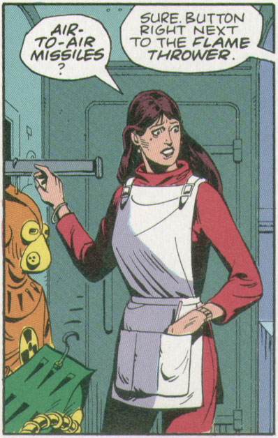 Laurie should kick the shit out of her stylist. From Watchmen, Chapter VII, 'A Brother to Dragons,' page 6.