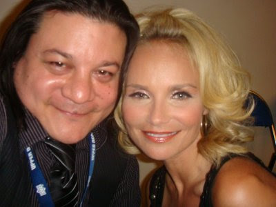 Comic News Insider co-host Jimmy Aquino with recent CNI guest Kristin Chenoweth (R.I.P. Pushing Daisies and Olive's cleavage).