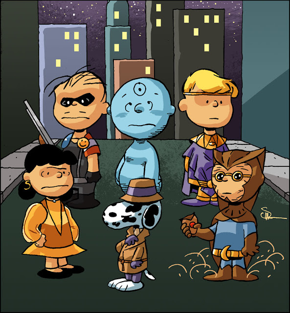 Dr. Manhattan is thinking 'Good grief!' in Evan Shaner's recently recolored Watchmen/Charlie Brown mash-up.