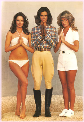 Jaclyn Smith, Kate Jackson and Farrah Fawcett-Majors in Charlie's Angels, before Farrah pulled a Caruso.