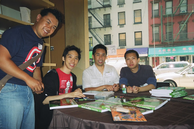 Captain America, Cliff Chiang, Parry Shen and Jimmy J. Aquino. Photo courtesy of JJA.