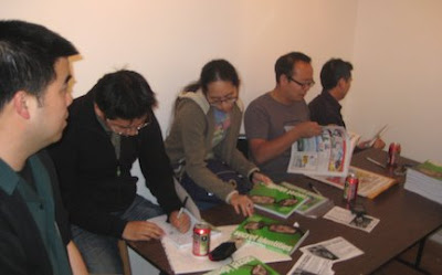 Walden Wong, Alexander Shen, Tiffanie Hwang, Jeff Yang and Jimmy J. Aquino at the signing table. Photo by Giant Robot.