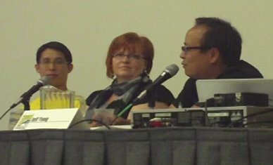 Gene Yang, Gail Simone and Jeff Yang at a San Diego Comic-Con '09 panel about diversity in superhero comics. Photo by Jimmy J. Aquino.