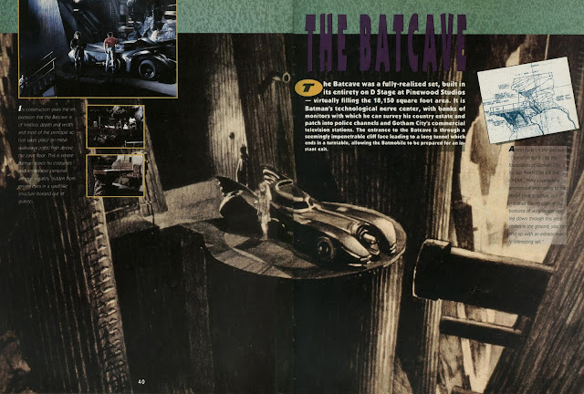 The Batcave section in the Batman Official Movie Souvenir Magazine