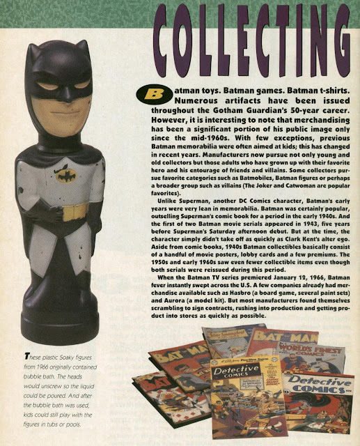 A 1966 Batman Soaky bubble bath container in the Batman Official Movie Souvenir Magazine section about vintage Batman merchandise