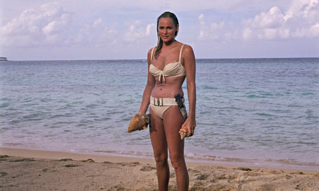It's Ursula Andress in the legendary bikini that's the same color as the splooge that spilled from a generation of Dr. No viewers.