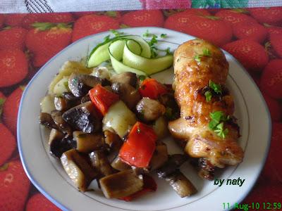 Articole culinare : Pulpe de pui umplute cu garnitura de ciuperci