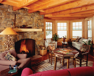 adirondack decor in timber frame home
