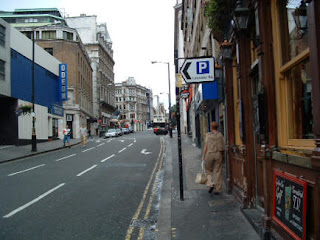 Photo of the street in London as we took our first morning walk in Europe