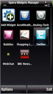 Opera Widget Manager for Nokia 5800 XpressMusic