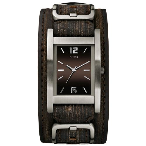 komeng bargains guess men brown double leather cuff watch g66391g guess men brown double leather cuff watch g66391g