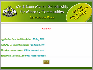 Government Has Invited Applications Through Online For The Merit Cum Means Scholarships Academic Year 2009 10 Students Belonging To Muslim And