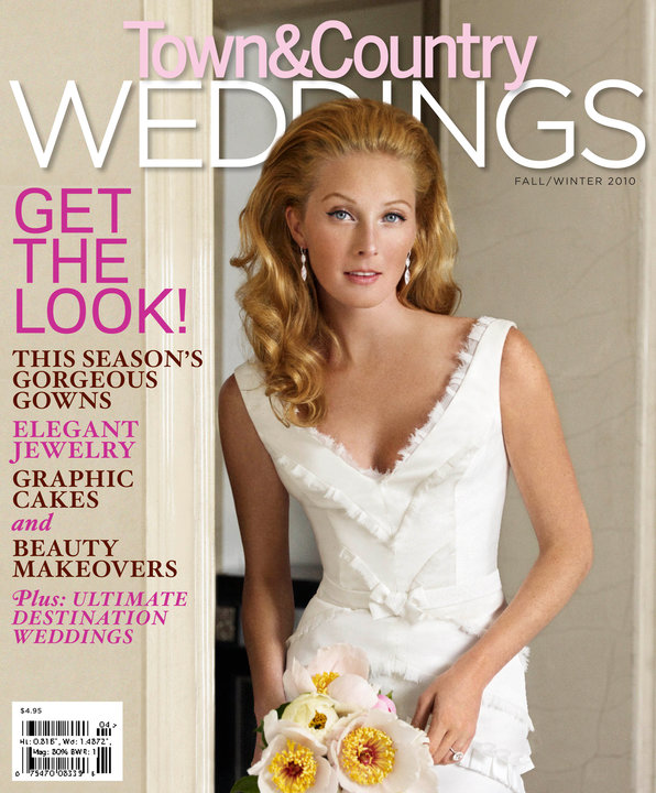 graces the cover of Town and Country Weddings as a bride this month