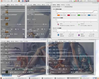 Ubuntu 8.04上で4つ同時にエンコード