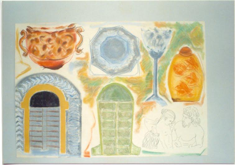 Fase: na casa da Vovó tem cristaleira, pratos, sopeira, portas, baús, lavabo, sotão....