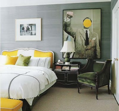 Gray linen walls add texture