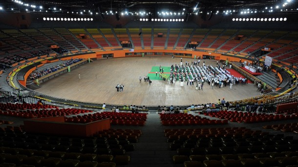 The+Indira+Gandhi+Indoor+Gymnastics+Stadium+with+a+seating+capacity+of+15,000+during+a+inauguration+ceremony+ahead+of+the+forthcoming+Commonwealth+Games+2010.jpg