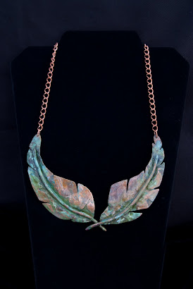 (SOLD) Copper patina feathers