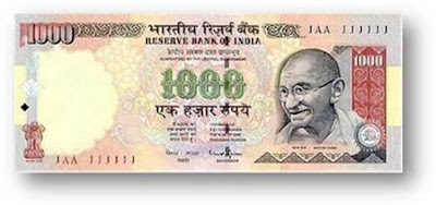 Currency Note 1000 rupes rever bank of india