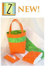 Eco Friendly Fabric Baby Gift Bag Set in Orange and Lime Green