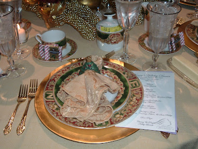 Beaded reindeer tablescape chair decoration