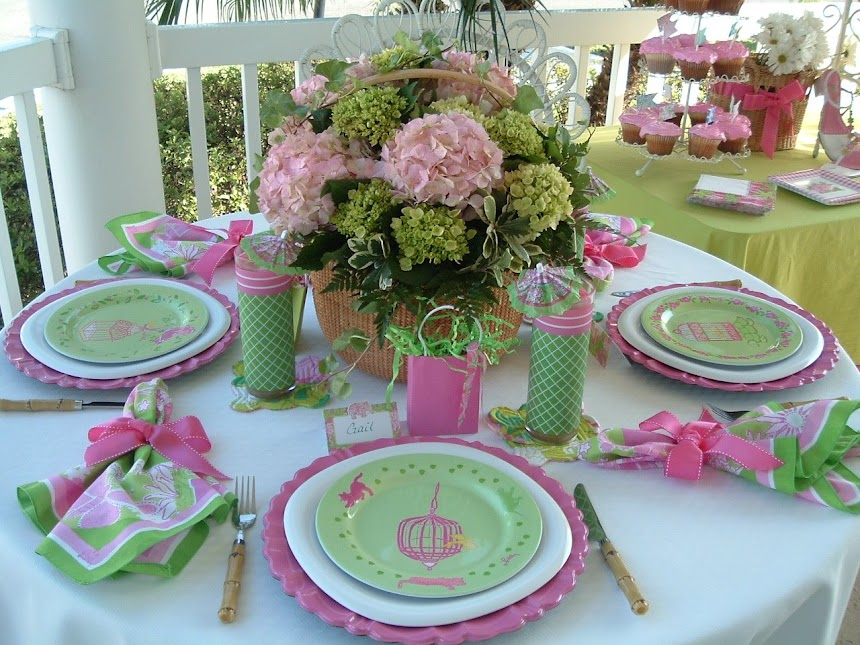 Lillyfied Luncheon Tablescapeon the front porch at The Roost