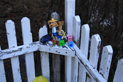 toys on fence