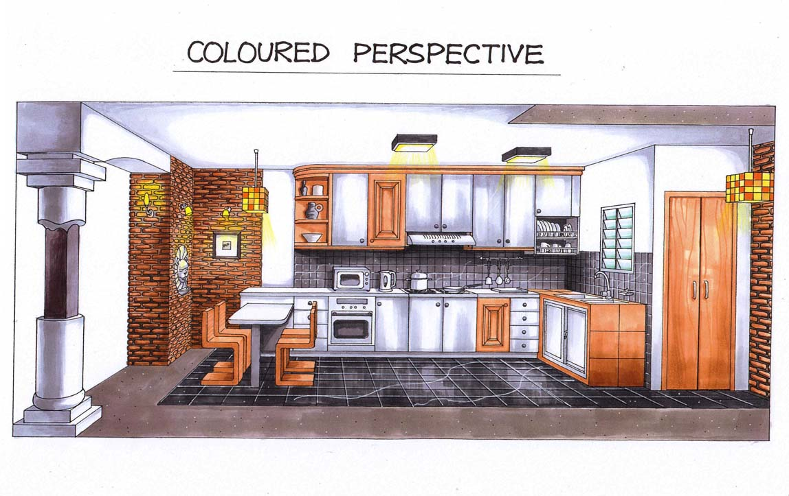 My First Interior Design   Coloured Perspective: Kitchen