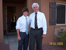 Our Grandson Jake and Grandpa Jerry on their way to Saturday General Priesthood Meeting together
