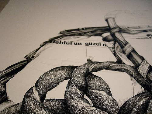 Detail of an ink drawing of a simit salesman, or simitci, in progress, by Samantha Zaza. Alternate view.