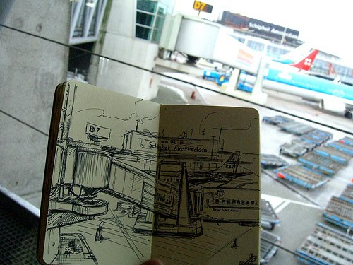 My sketch of the scene outside the airport window of planes.