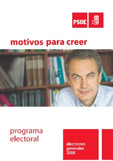 Portada del programa electoral del PSOE