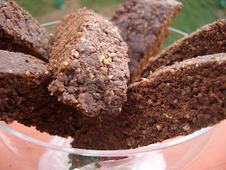 Raw chocolate walnut biscotti in glass container