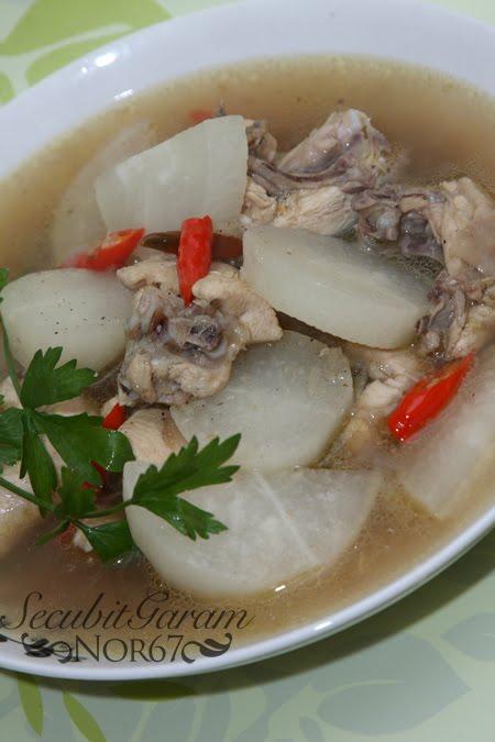 Secubit Garam Sup Lobak Putih Dgn Ayam